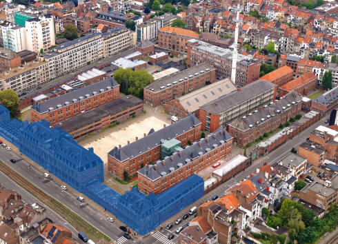 In blue: the buildings that are the subject of the long lease granted by the Region to ULB and VUB for the development of the university and academic part of Usquare.brussels. © sau-msi.brussels (Simon Schmitt - www.globalview.be)