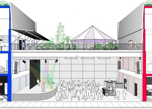Longitudinal section of the future building. © Central