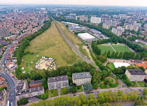 Aerial view of the site of the former Josaphat railway station. © sau-msi.brussels (Simon Schmitt - www.globalview.be)