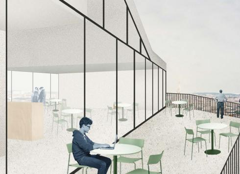 'LE CHAT cartoon museum' will have a cafeteria with a superb view over the city centre and Brussels Park. © Atelier Pierre Hebbelinck