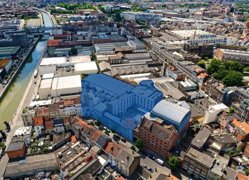 The site that will undergo extensive renovation at 13-15 and 17-19 Rue de Manchester in Molenbeek-Saint-Jean. © sau-msi.brussels (GlobalView)