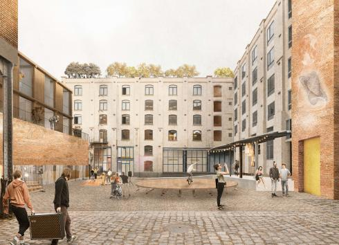 Simulation of the future layout of the courtyard at 17-19 Rue de Manchester. © sau-msi.brussels (BC architects)