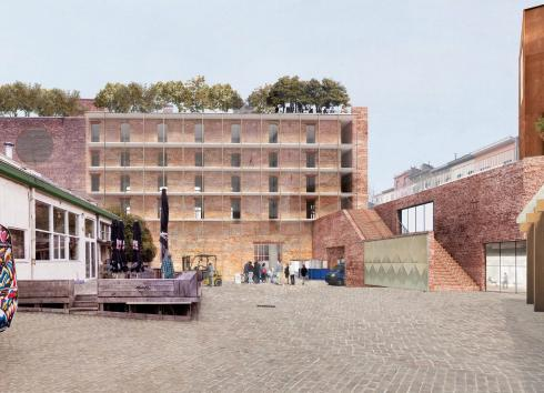 Simulation of the future layout of the courtyard at 13-15 Rue de Manchester, with the stairs on the right leading to the green terrace. © sau-msi.brussels (BC architects)