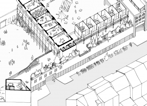 Plan of the green terrace on the new building that will link 13-15 and 17-19 Rue de Manchester to the Rue de Manchester street front. © sau-msi.brussels (BC architects)