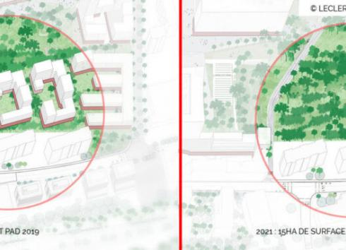 The elimination of Blocks I, J and K, which were included in the first version of the PAD-RPA, makes it possible to extend the urban park. © Leclercq Associés/perspective.brussels