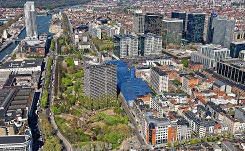 The Brussels central fire station between the canal and the North district. © sau-msi.brussels (Simon Schmitt - www.globalview.be)